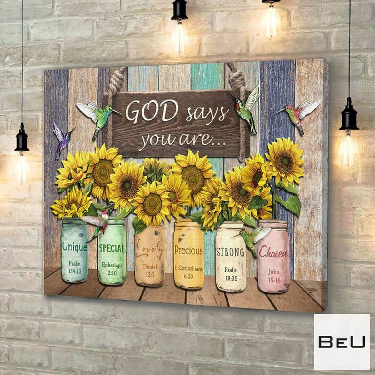 Wonderful God Say You Are Hummingbird Sunflowers Canvas