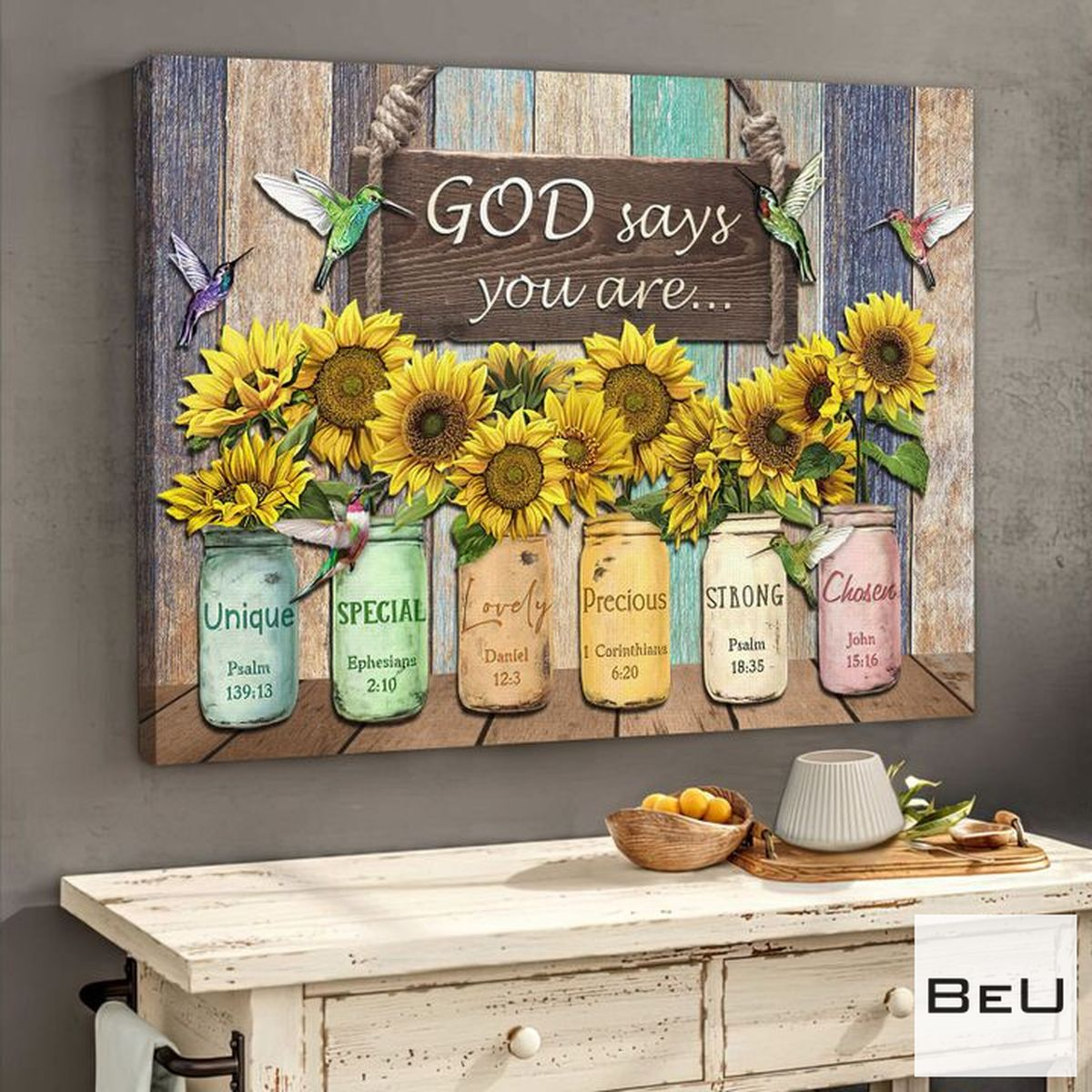 Drop Shipping God Say You Are Hummingbird Sunflowers Canvas