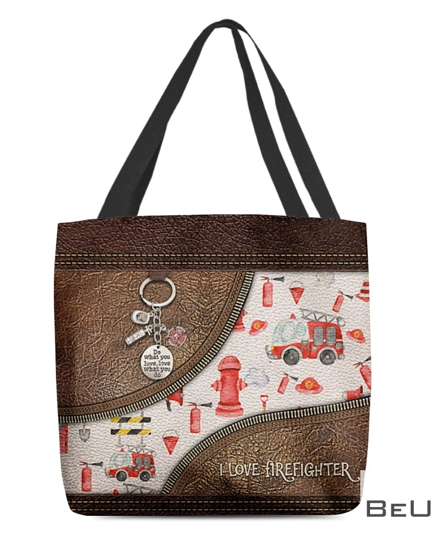 I Love Firefighter leather tote bag