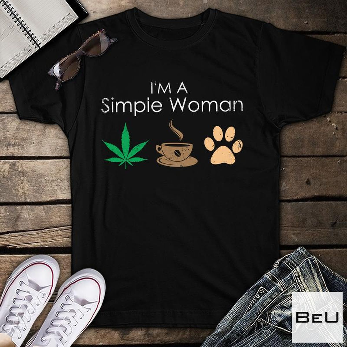 Esty I'm A Simple Woman Coffee Dogs Shirt