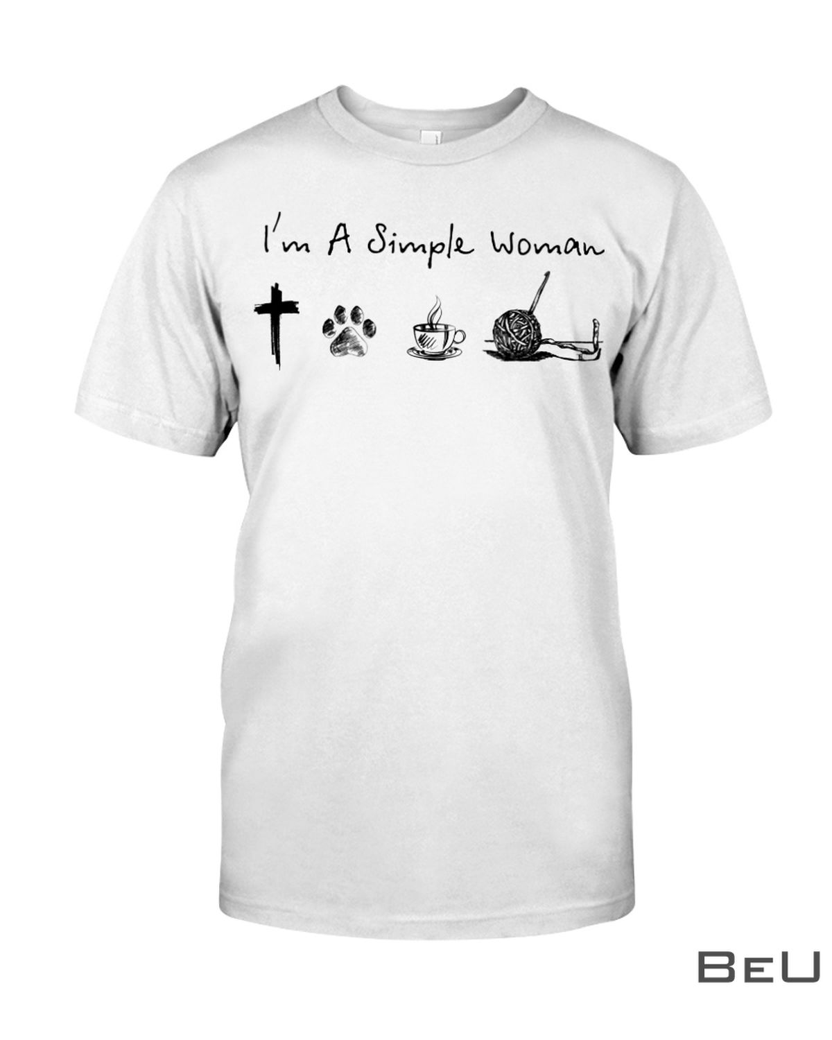 I'm A Simple Woman Who Loves Jesus Dog Coffee And Crocheting Shirt