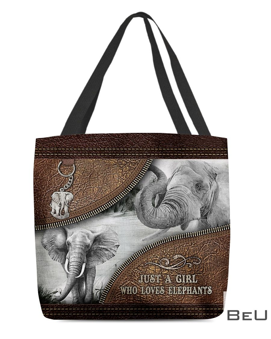 Just A Girl Who Loves Elephant Leather Tote Bag
