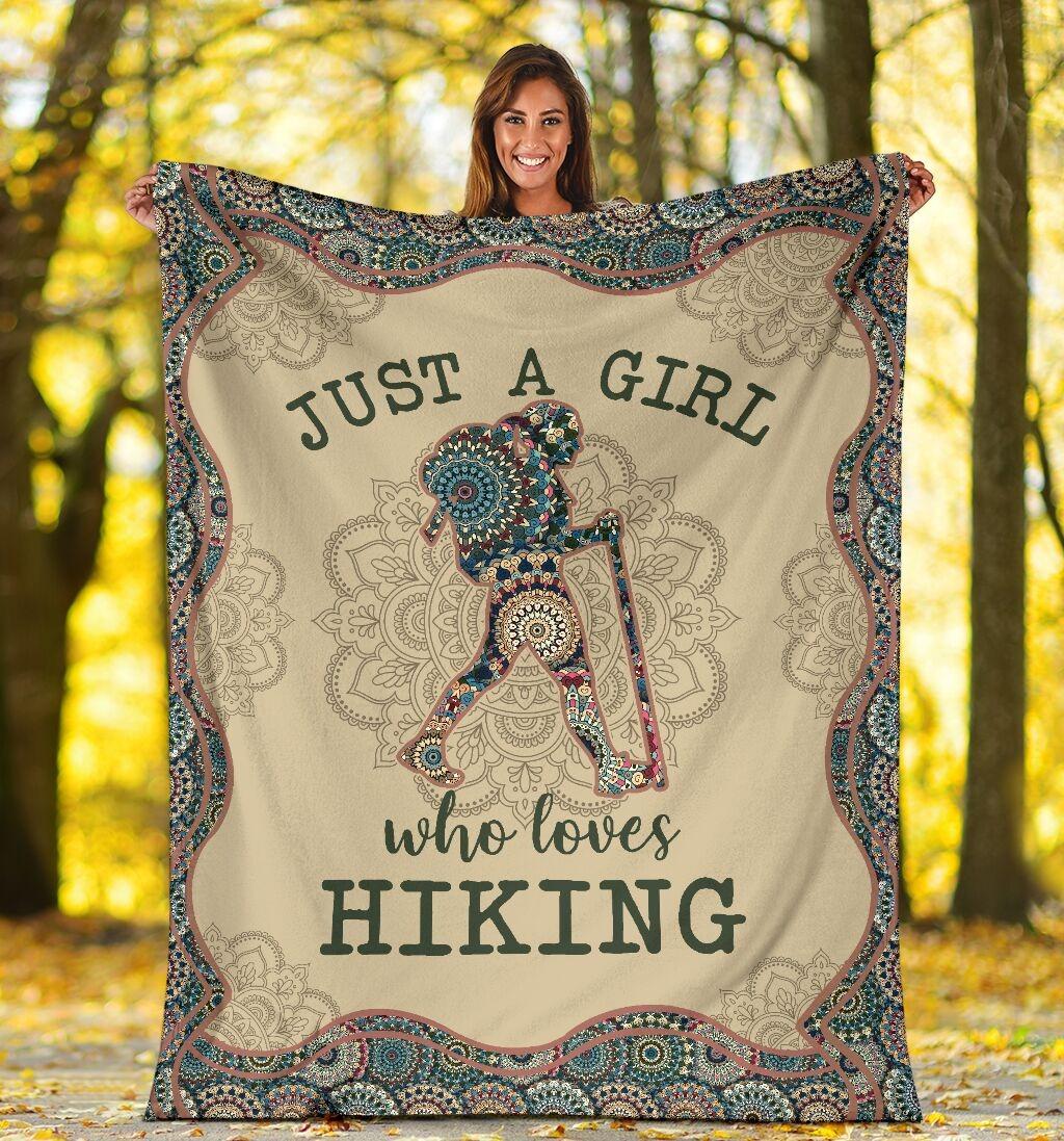 Just A Girl Who Loves Hiking Fleece Blanket 2
