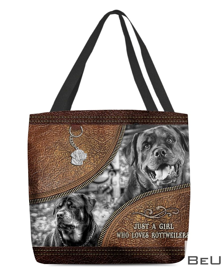 Just A Girl Who Loves Rottweilers As Leather Tote Bag