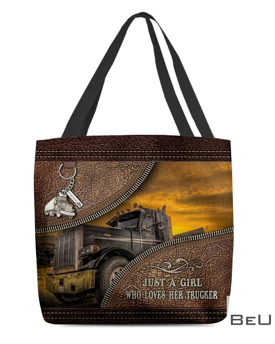 Just a girl who loves her trucker as leather tote bag