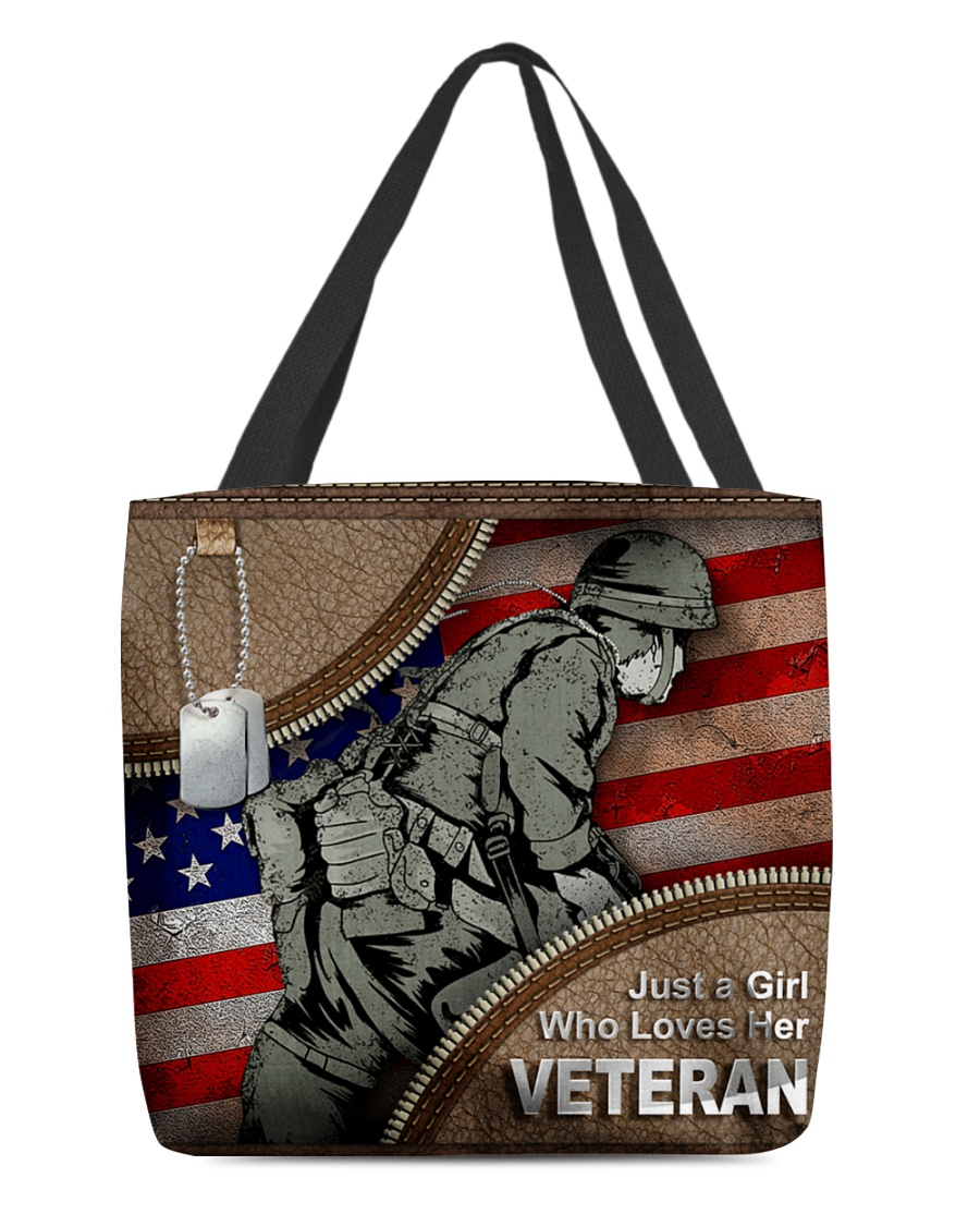 Just a girl who loves her veteran tote bag