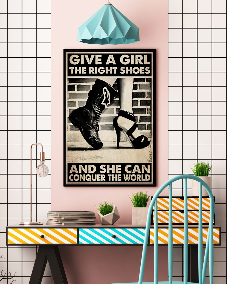 Motorcycle Girl Give a girl the right shoes and she can conquer the world poster3