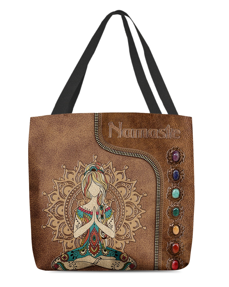 Namaste Leather Pattern Personalized Tote Bag