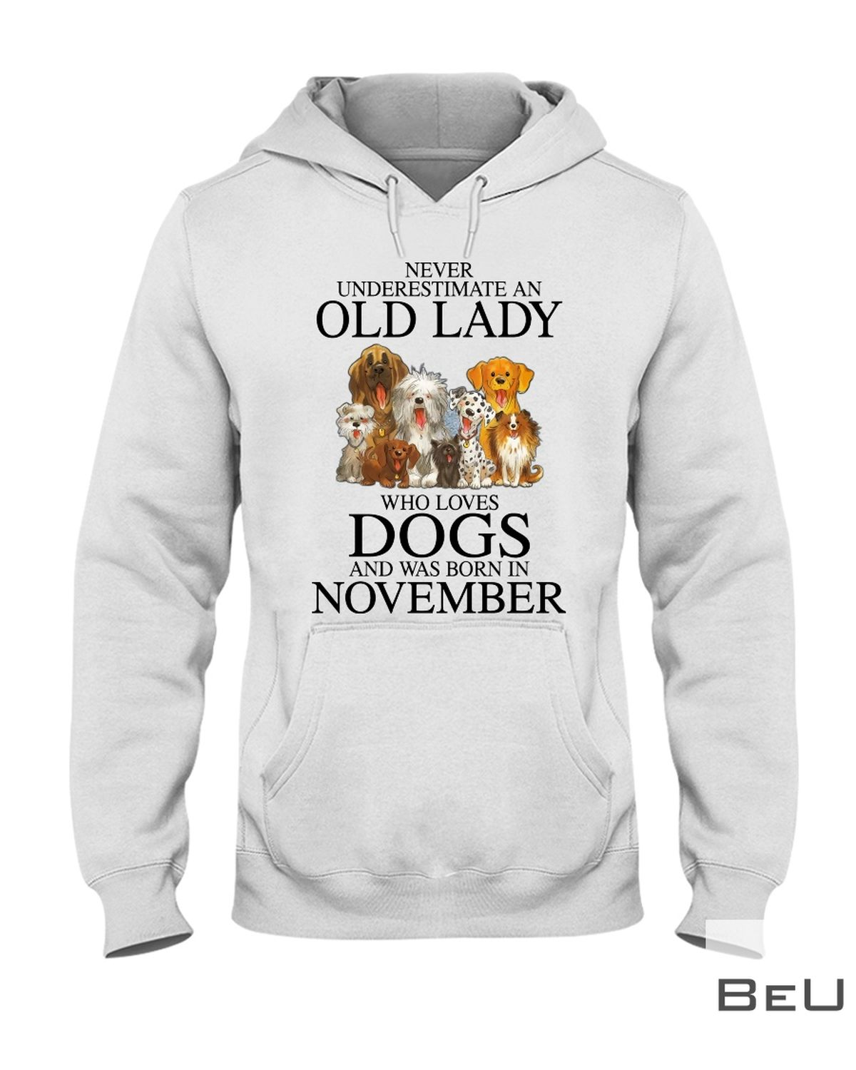 Never Underestimate A November Old Lady Who Loves Dogs Shirt