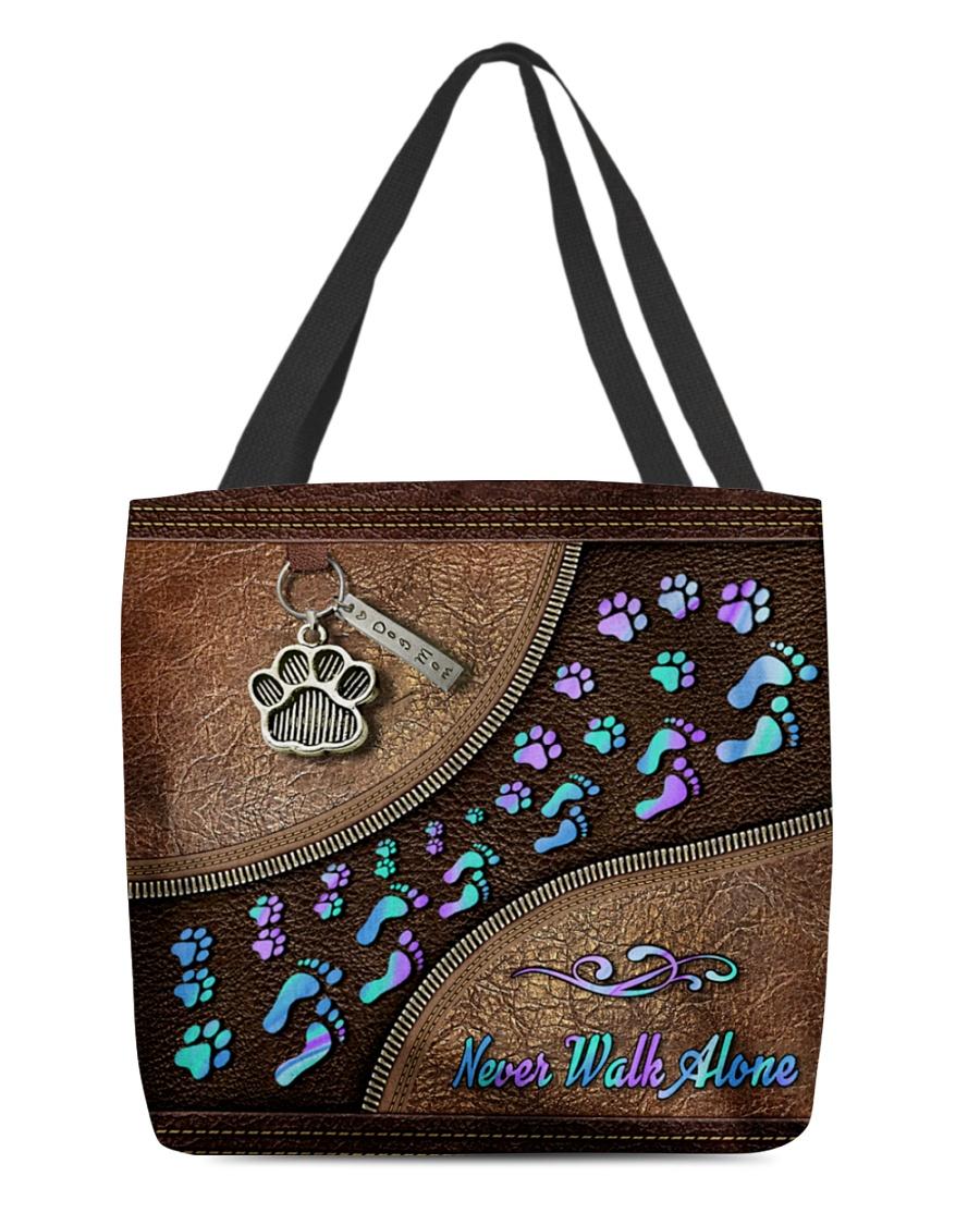 Never Walk Alone Dog Leather Zipper Tote Bag