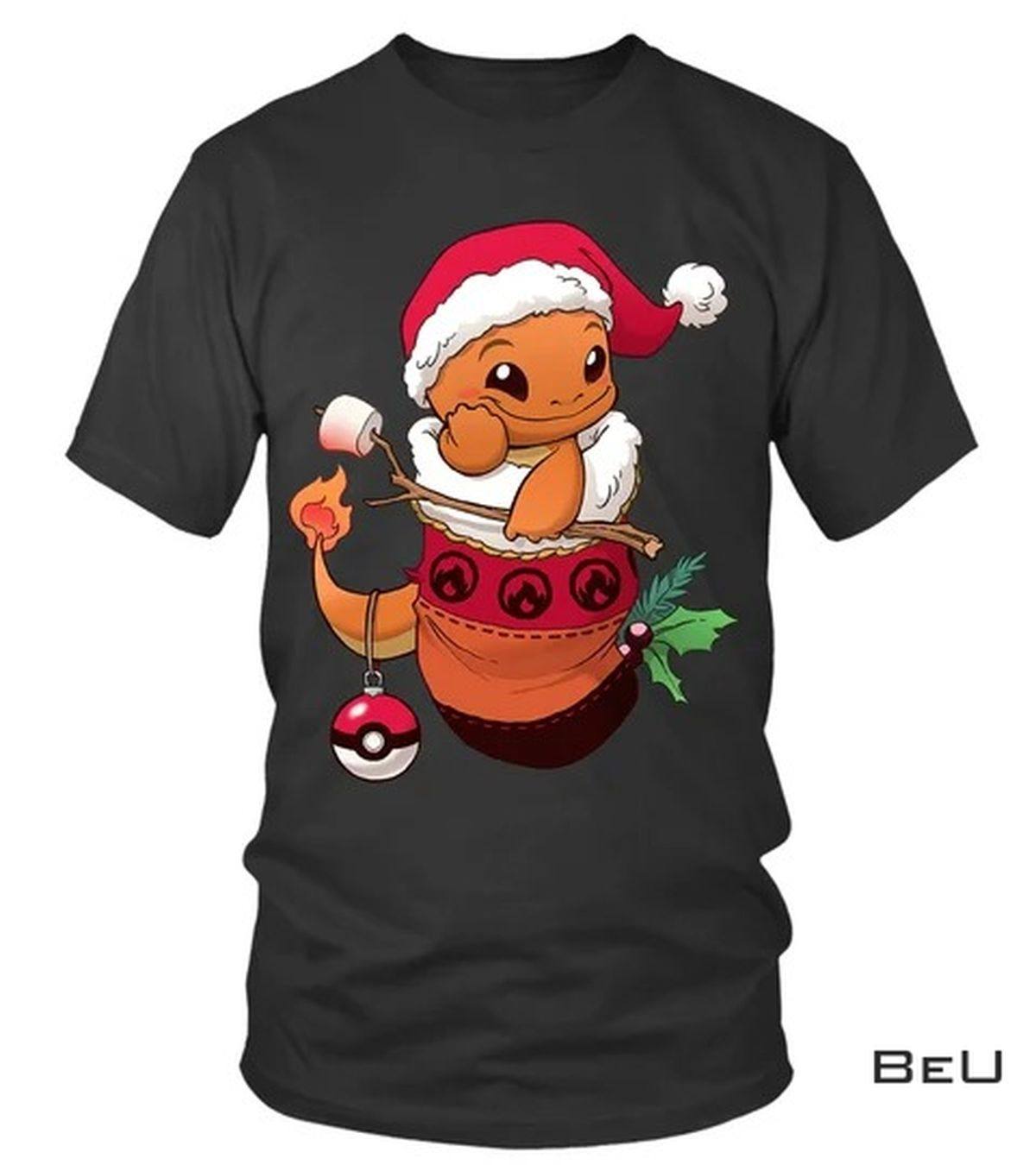 Pokemon Baby Charizard Santa Claus Shirt