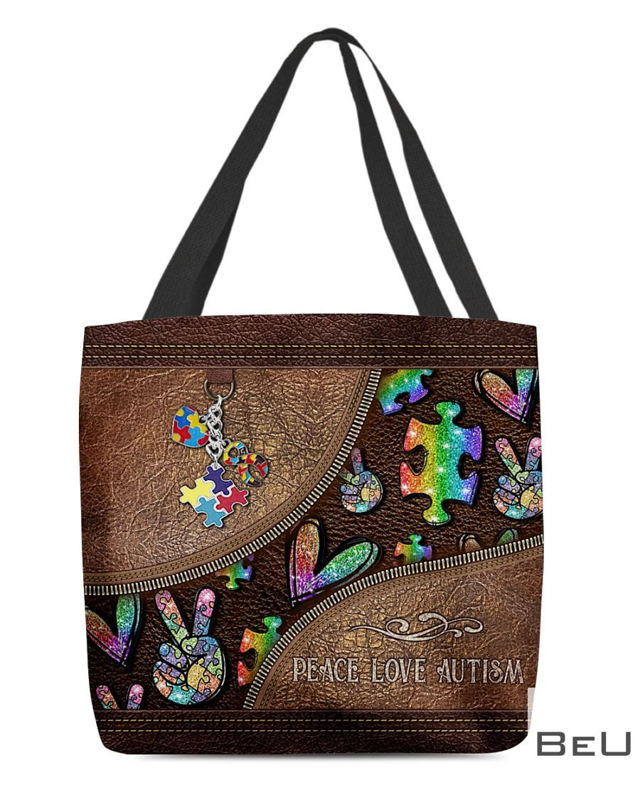 Peace Love Autism Leather Pattern Tote Bag