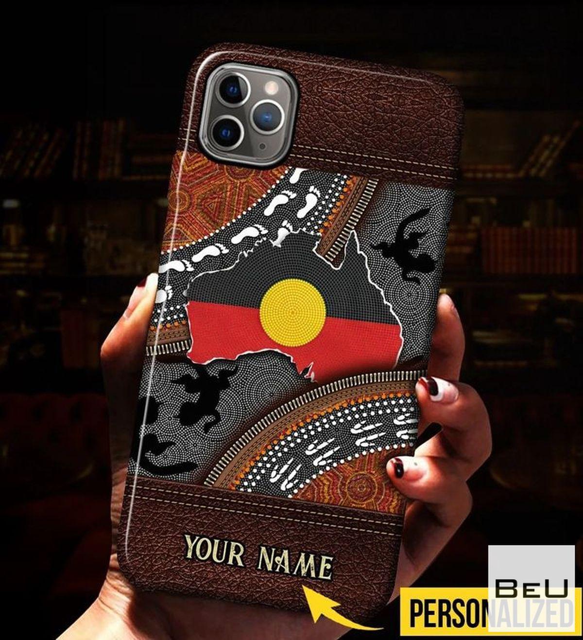 Personalized Aboriginal Australian Leather Pattern Print Phone Case