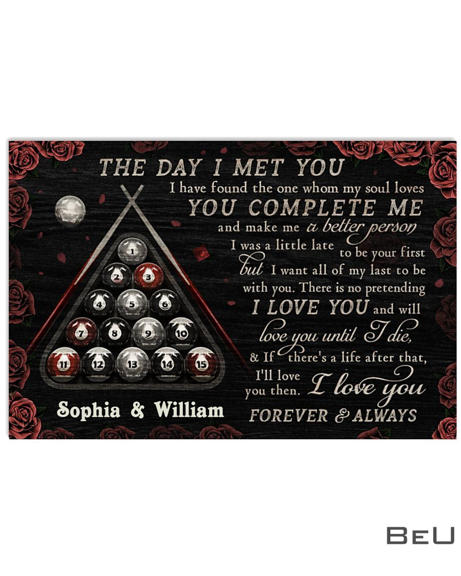 Personalized Billiard The Day I Met You Poster