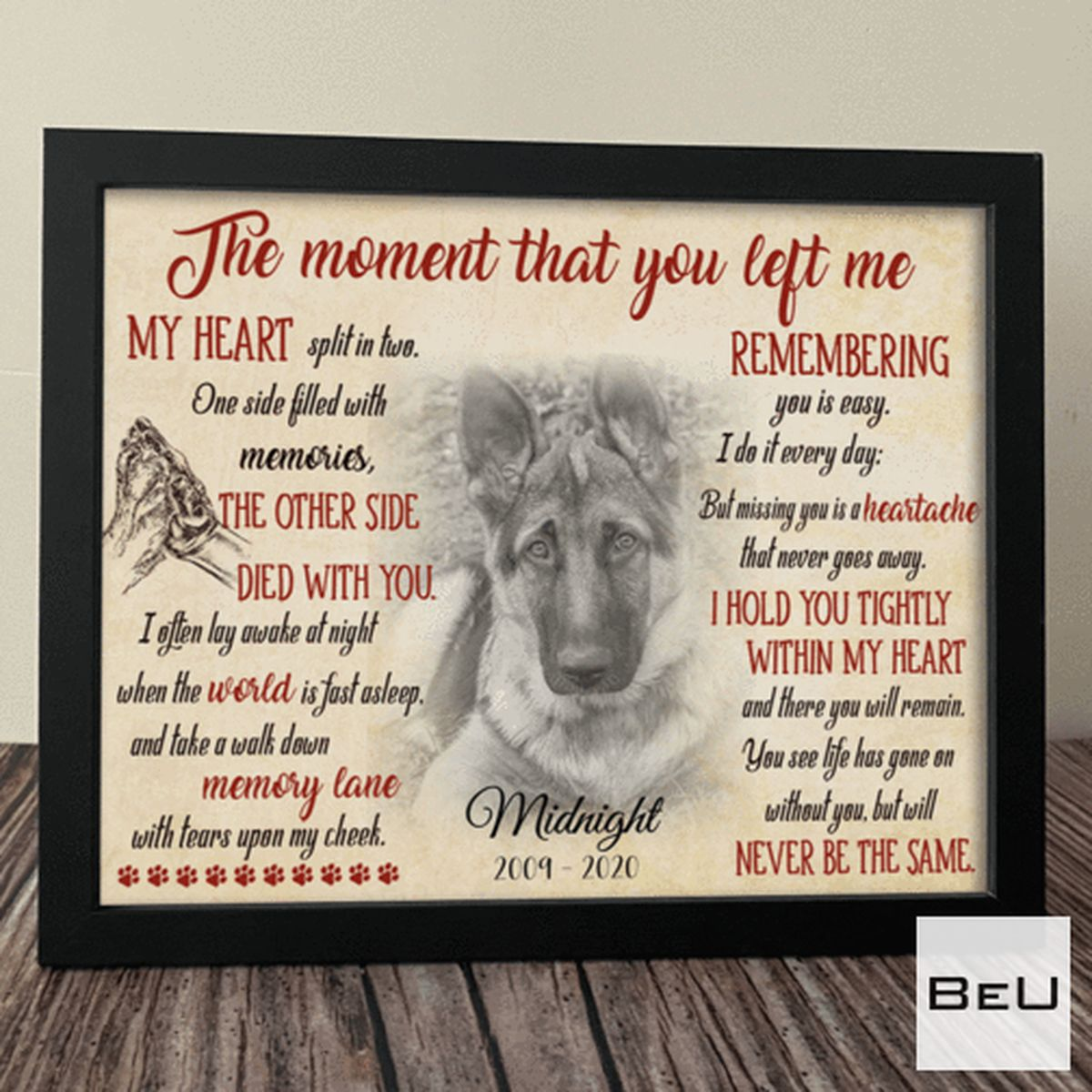 Personalized Dog The Moment That You Left Me Poster