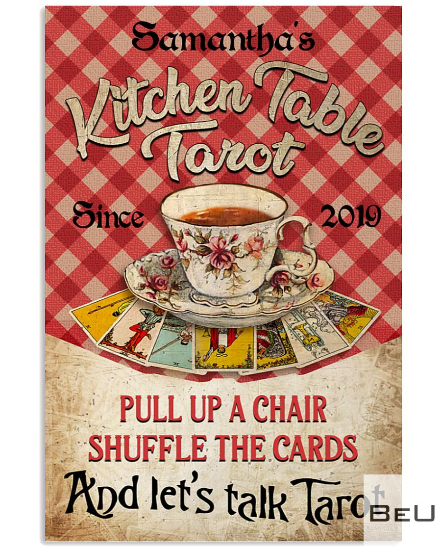 Personalized Kitchen Table Tarot Pull Up A Chair Shuffle The Cards Poster