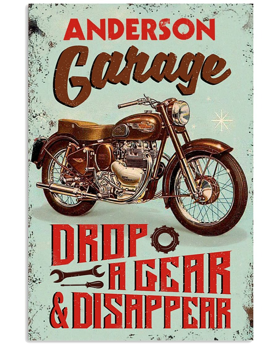 Personalized Motorcycle Garage Drop A Gear And Disappear Poster1