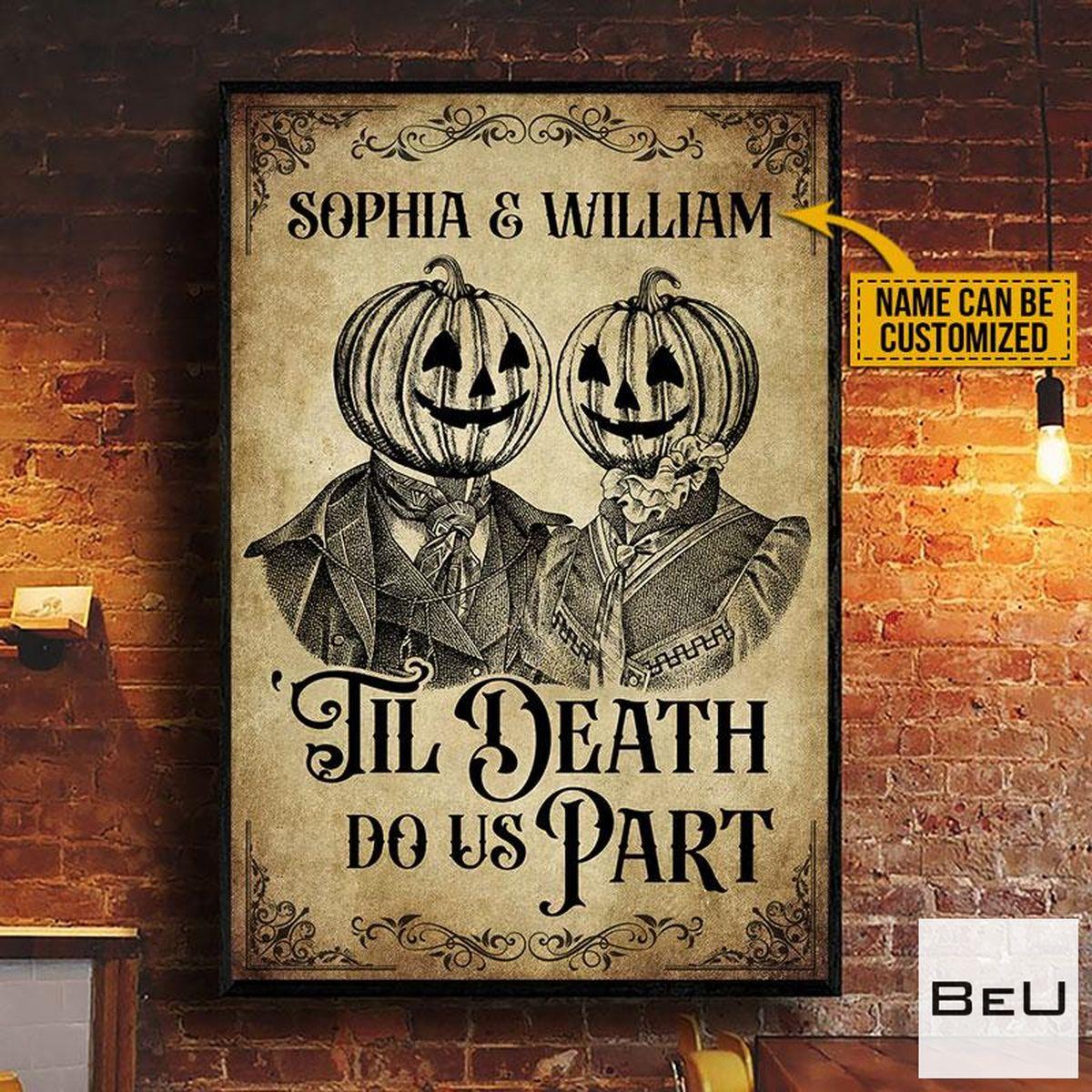 Personalized Skeleton Skull Pumpkin Couple Till Death Do Us Part Poster