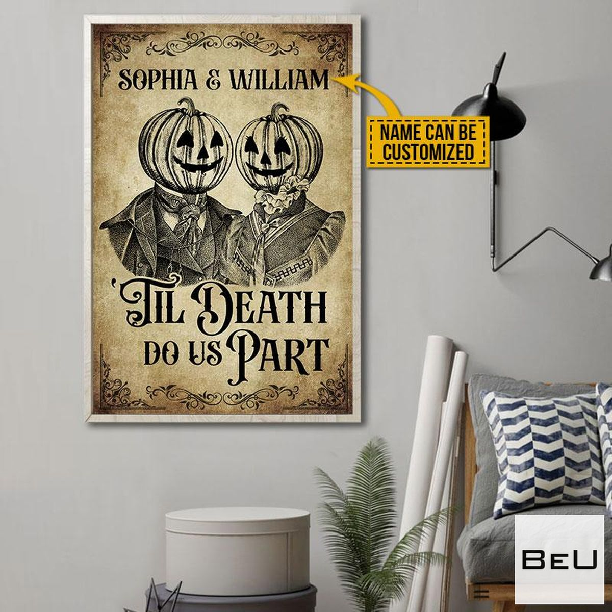 Personalized Skeleton Skull Pumpkin Couple Till Death Do Us Part Posterc