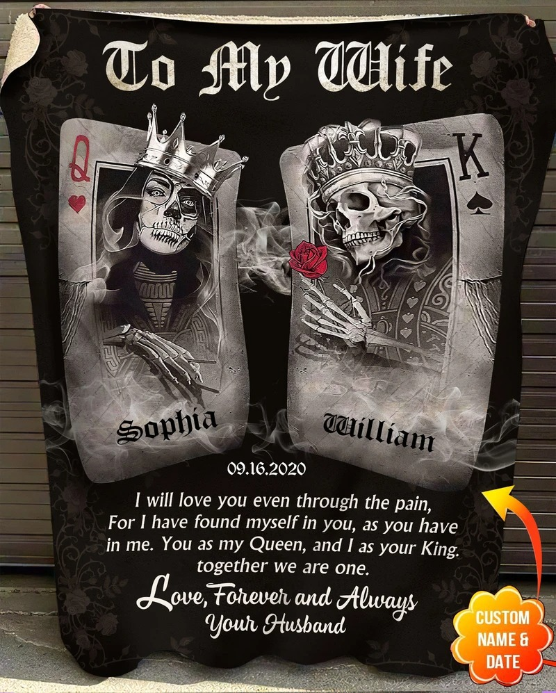 Personalized To My Wife I Will Love You Even Through The Pain Skull Poker Fleece Blanket