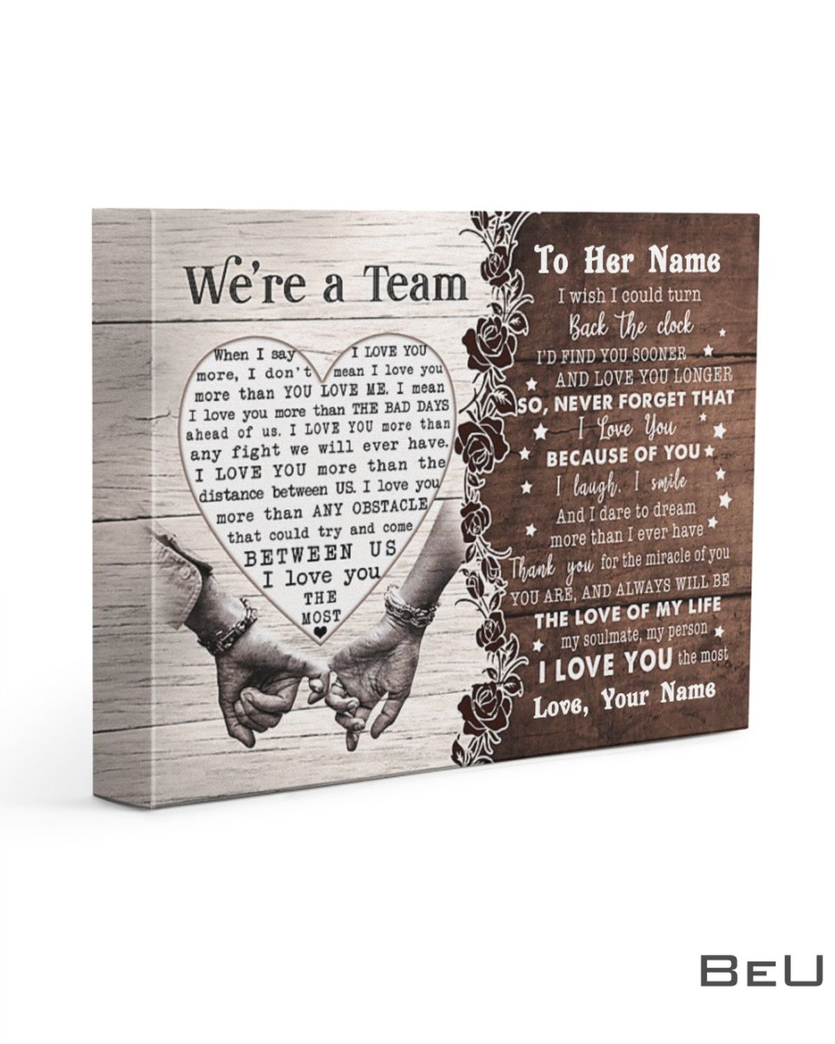 Personalized We're A Team To The Love Of My Life I Wish I Could Turn Back The Clock Canvas