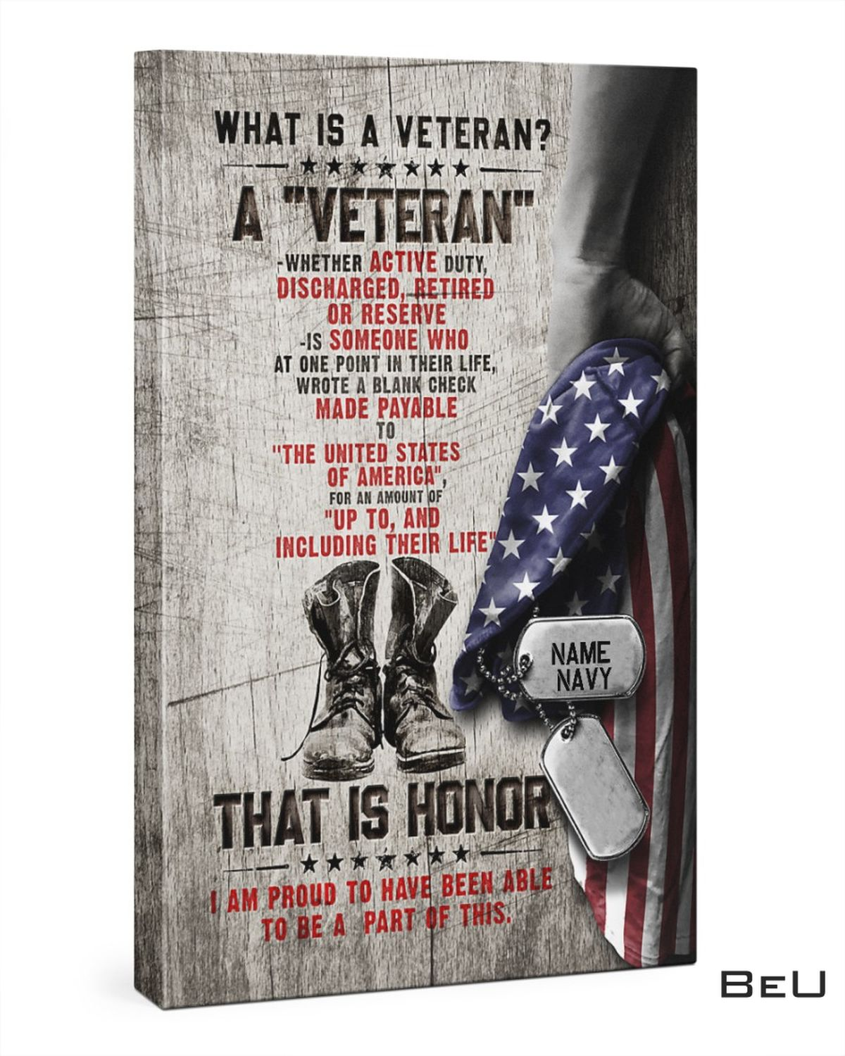 Personalized What Is A Veteran This Is Honor Canvas