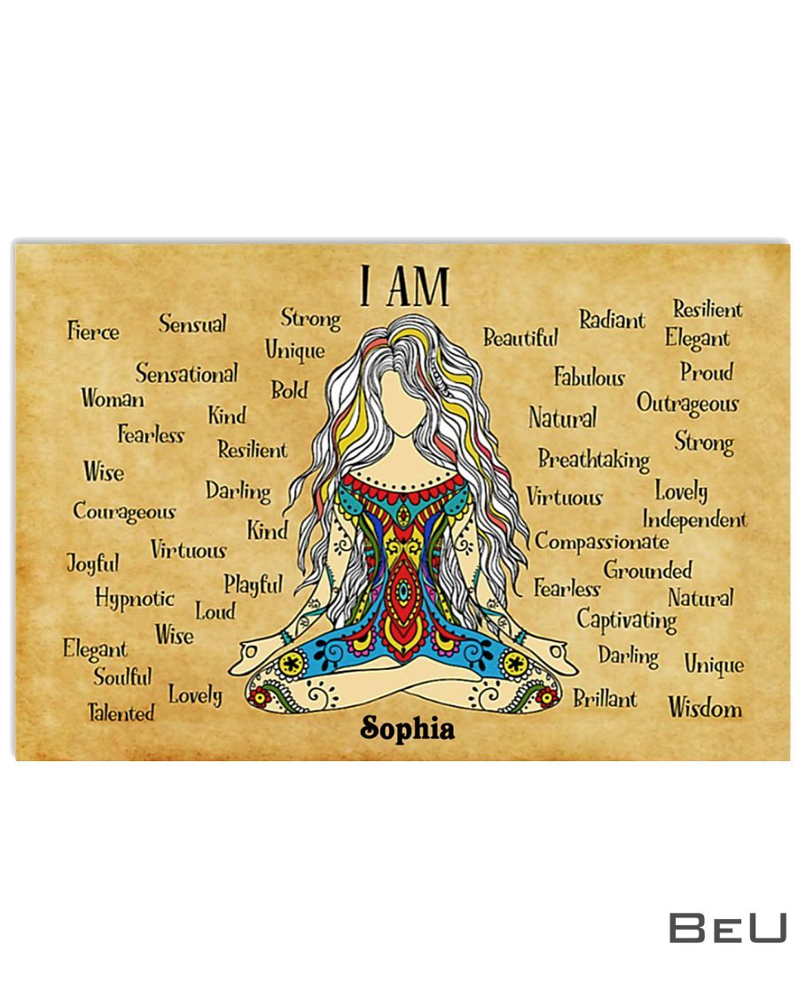 Personalized Yoga I am strong unique bold beautiful kind poster