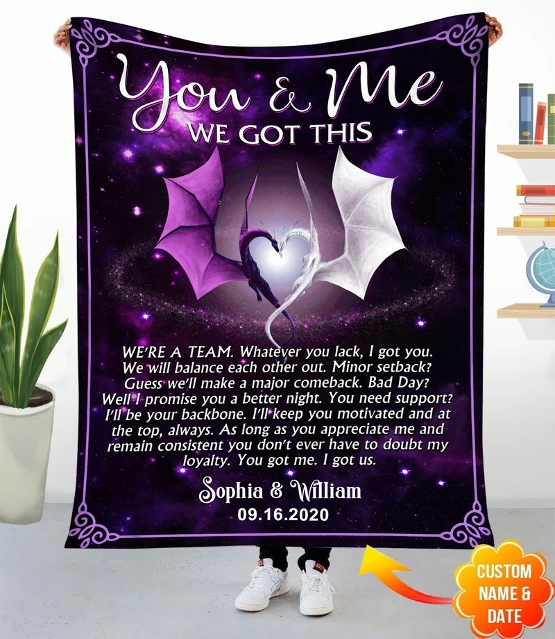 Personalized You And Me We Got This Dragon Fleece Blanket