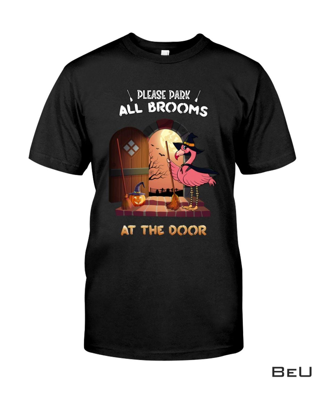 Very Good Quality Please Park All Brooms At The Door Flamingo Halloween Shirt, hoodie, tank top