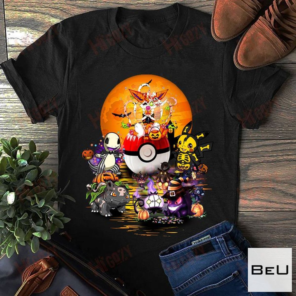 Pokemon Bulbasaur, Gengar, Charizard, Eevee Halloween Shirt