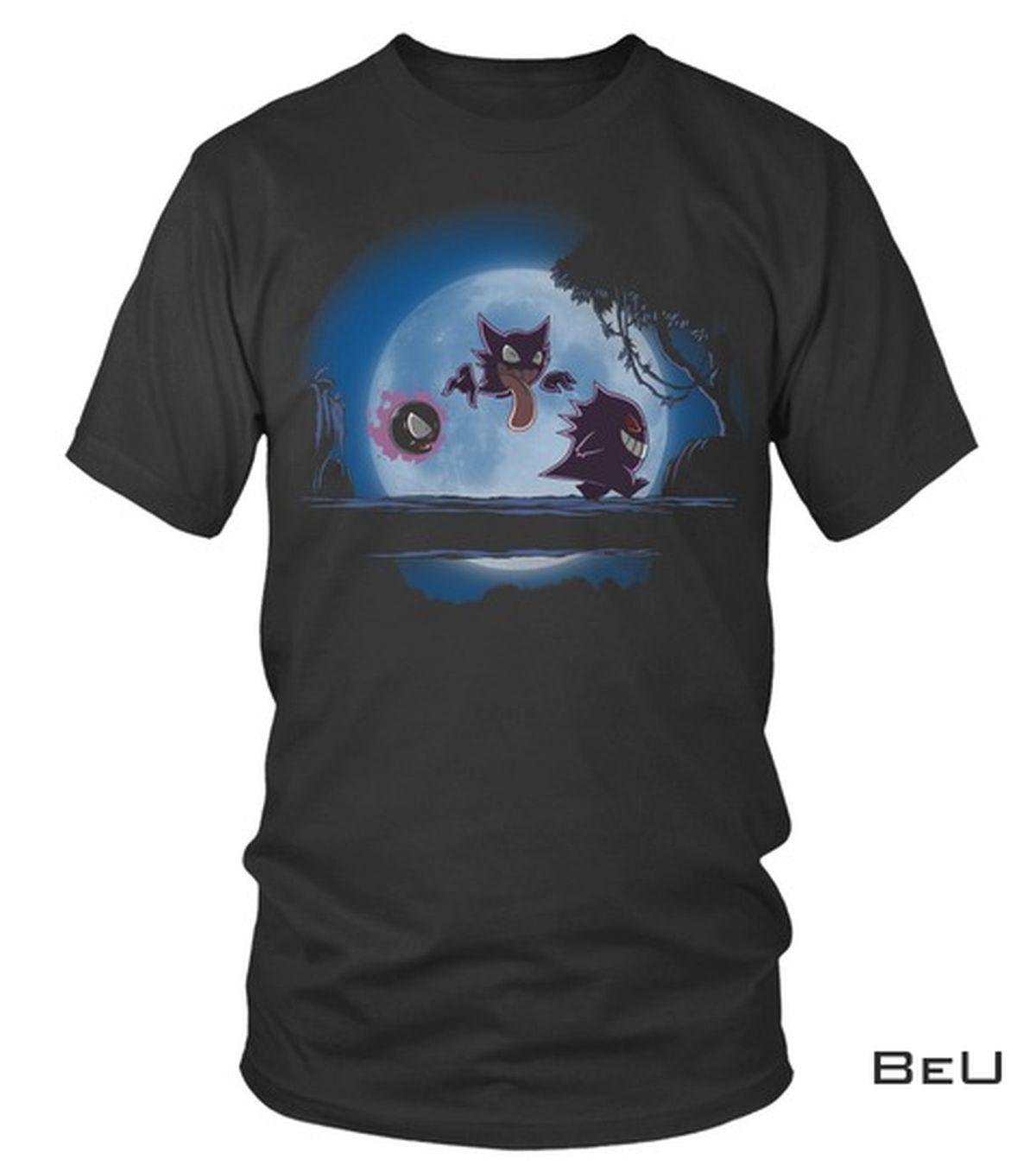 Great artwork! Pokemon Gengar Walking And The Moon Shirt, hoodie, tank top