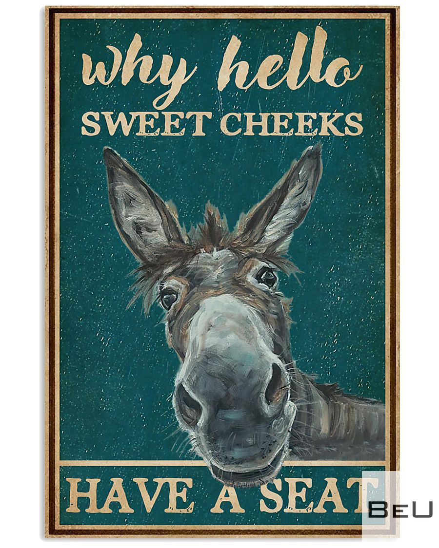Retro Why Hello Sweet Cheeks Have A Seat Donkey Poster