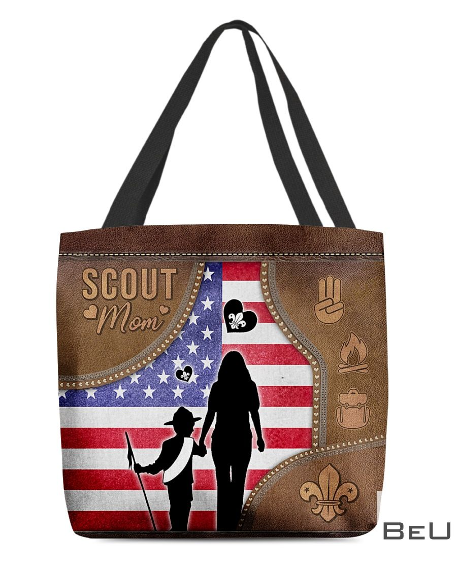Scout Mom as leather tote bag