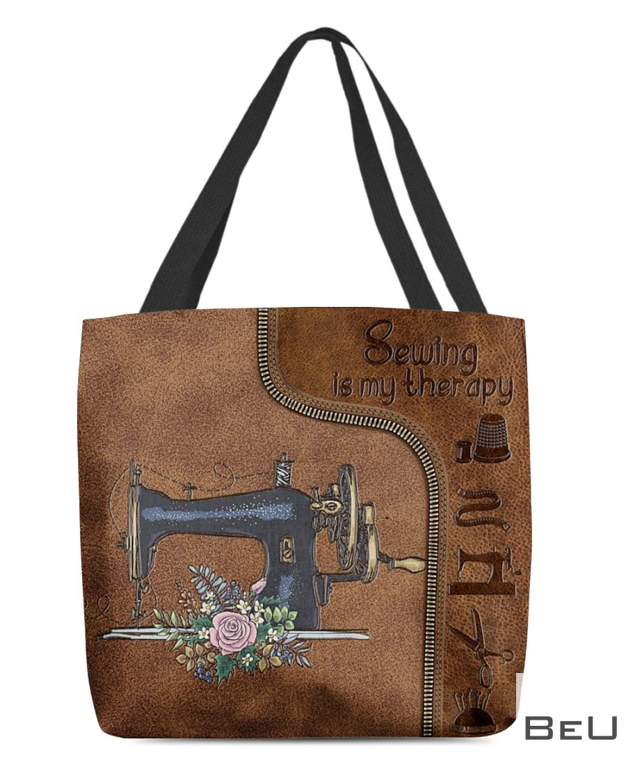 Sewing Is My Therapy Leather Pattern Tote Bag