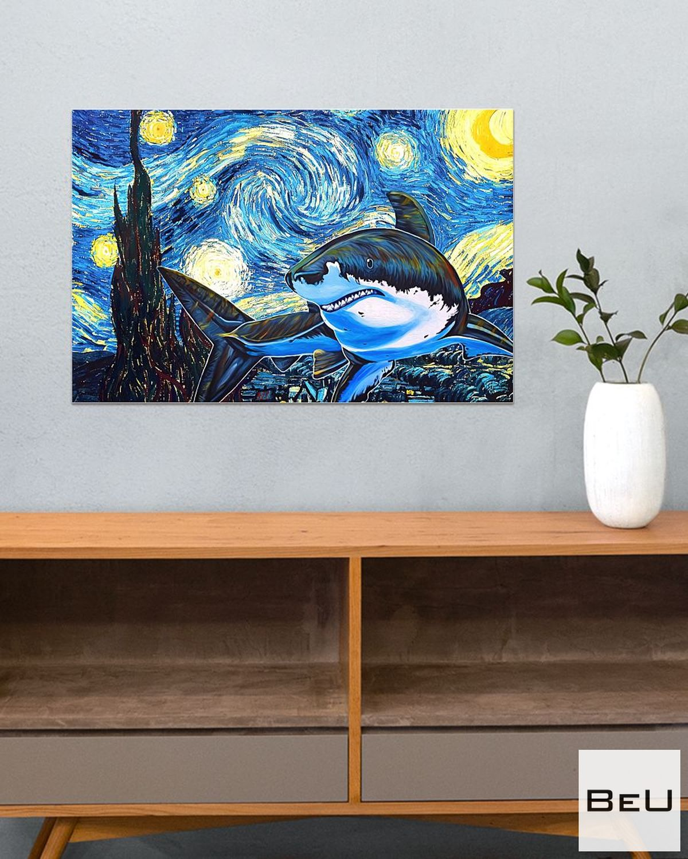 Shark Starry Night Poster c