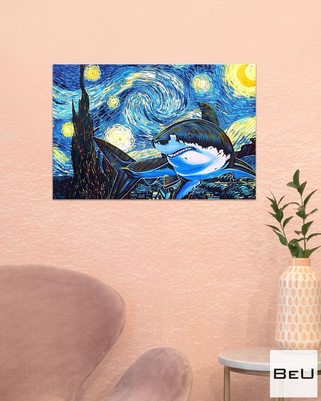 Shark Starry Night Poster x