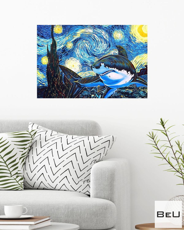 Shark Starry Night Poster z