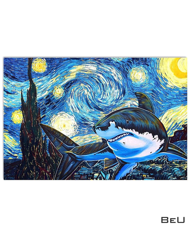 Shark Starry Night Poster