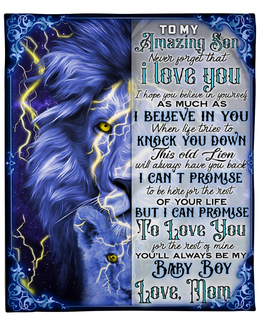 To My Amazing Son Never Forget That I Love You Lion Fleece Blanket