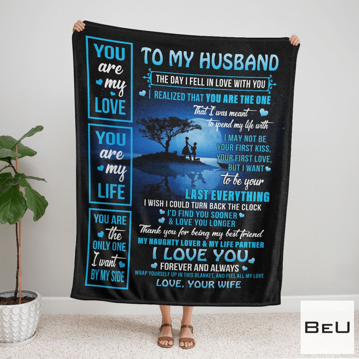 Wonderful To My Husband Love Your Wife Blanket