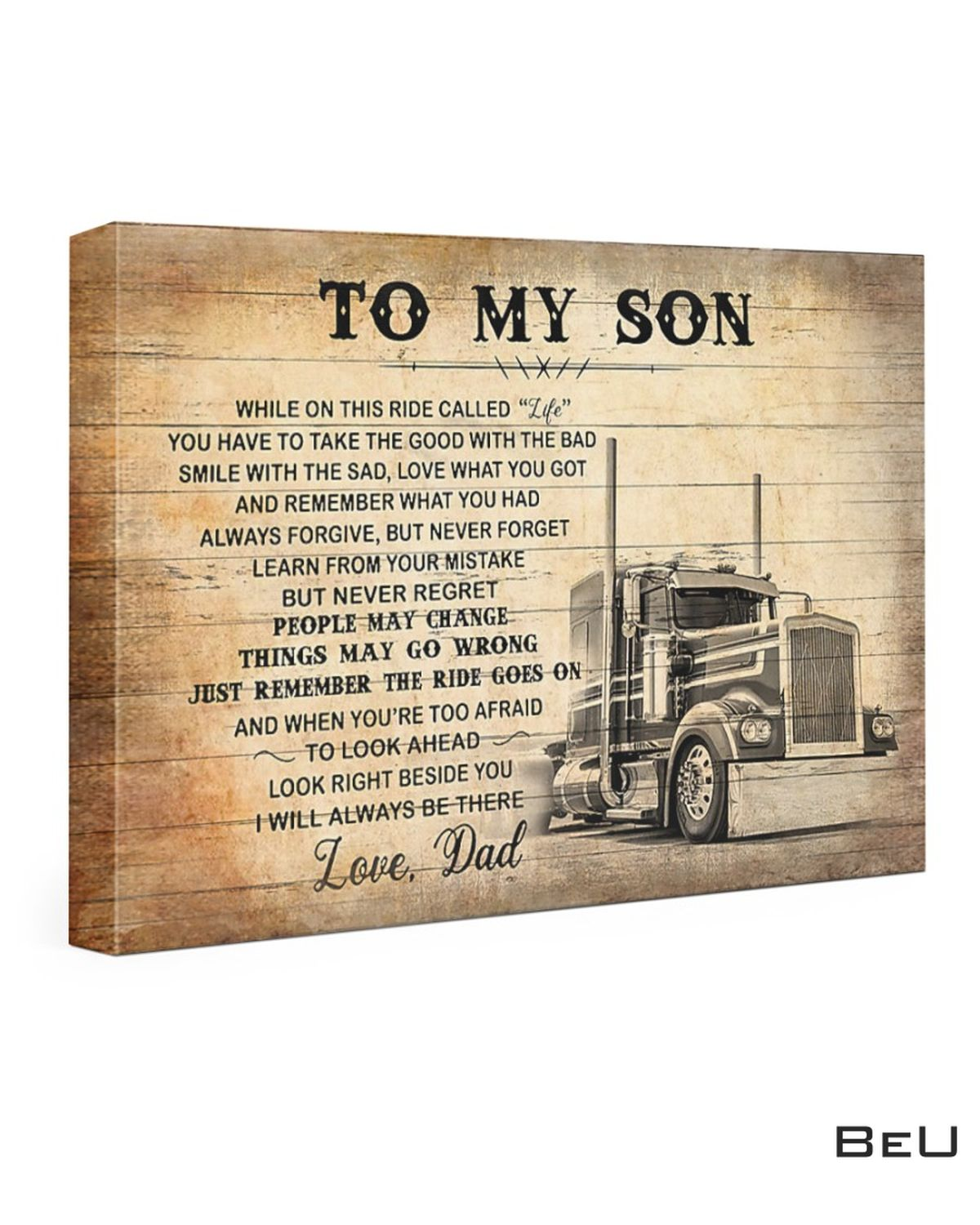 To My Son Love Dad Truck Driver Canvas