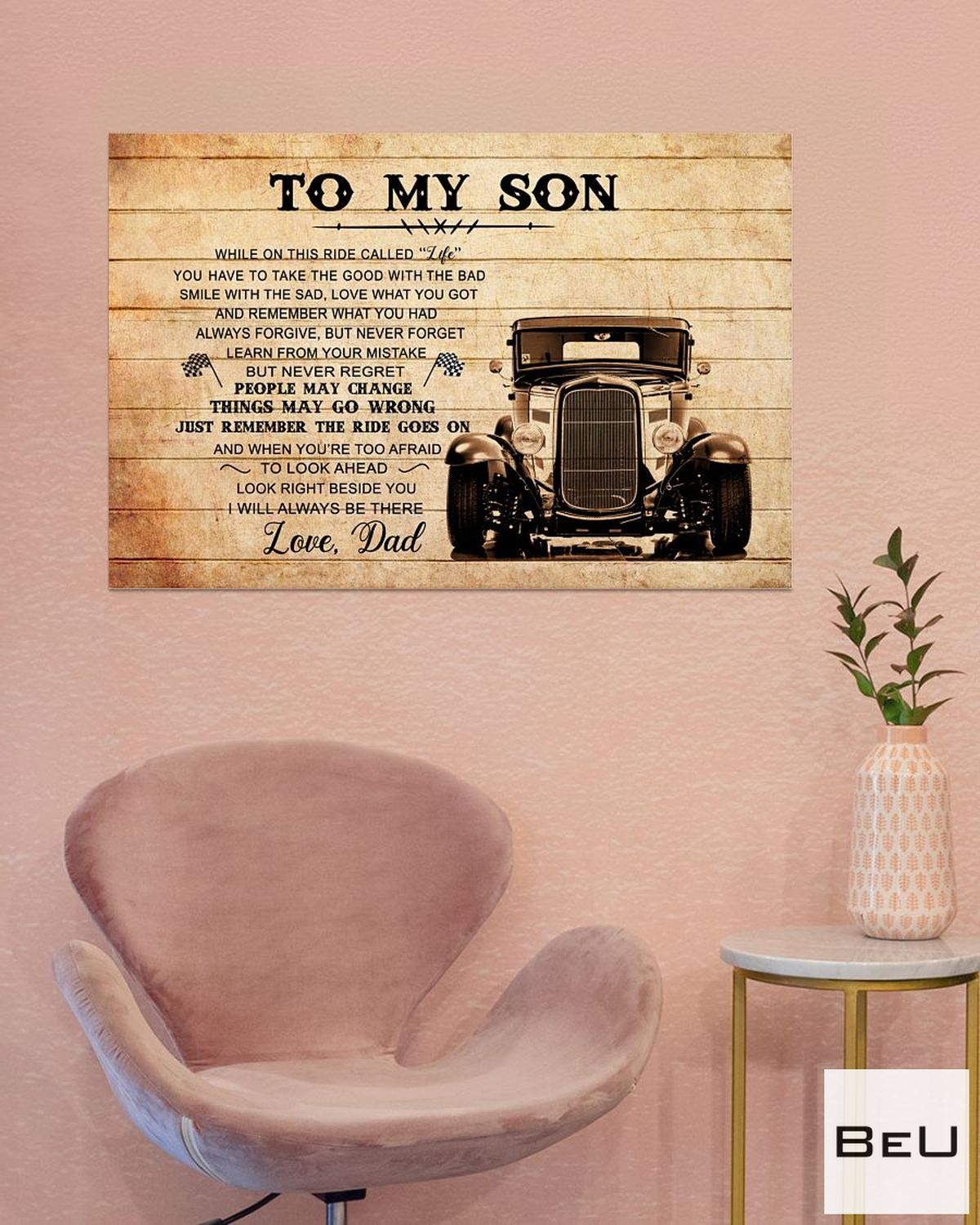 To My Son Love Dad Truck Driver Poster b
