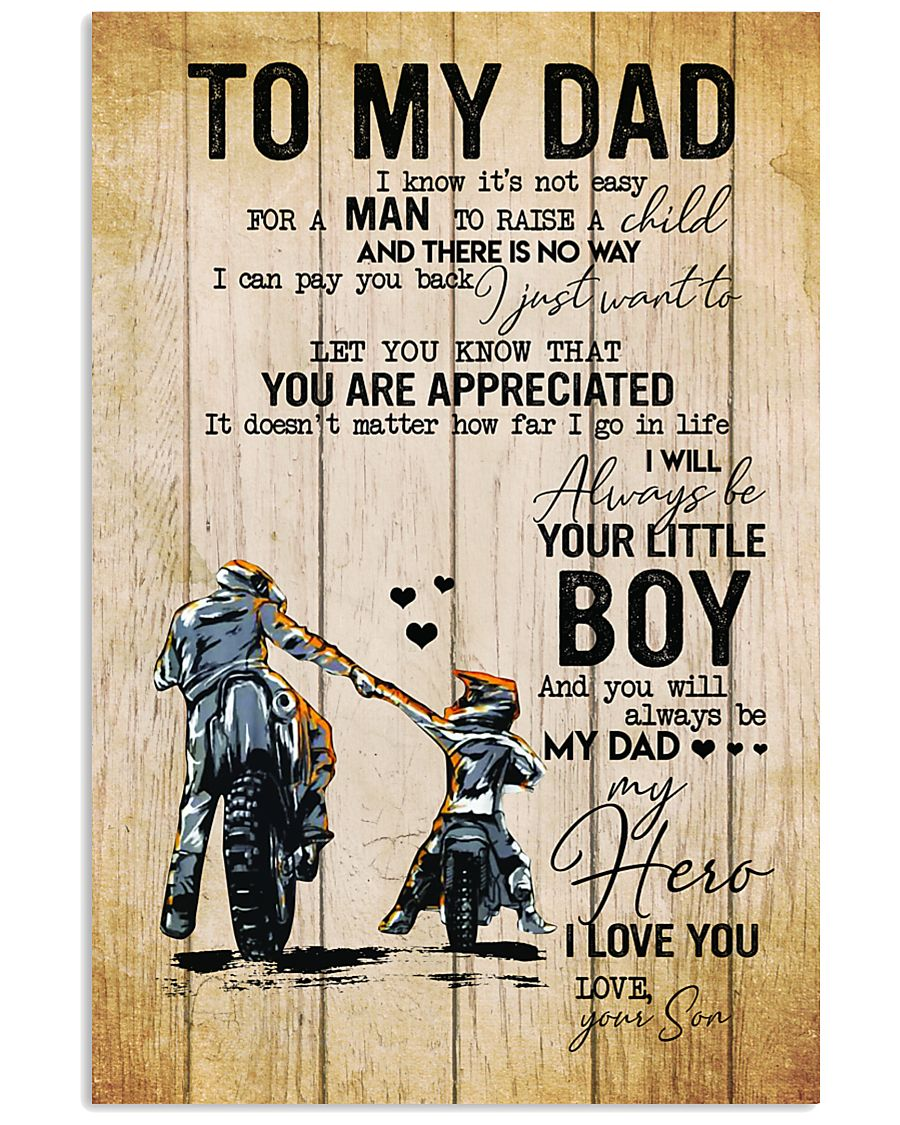 To my dad I know it's not easy for a man to raise a child Racing boy poster