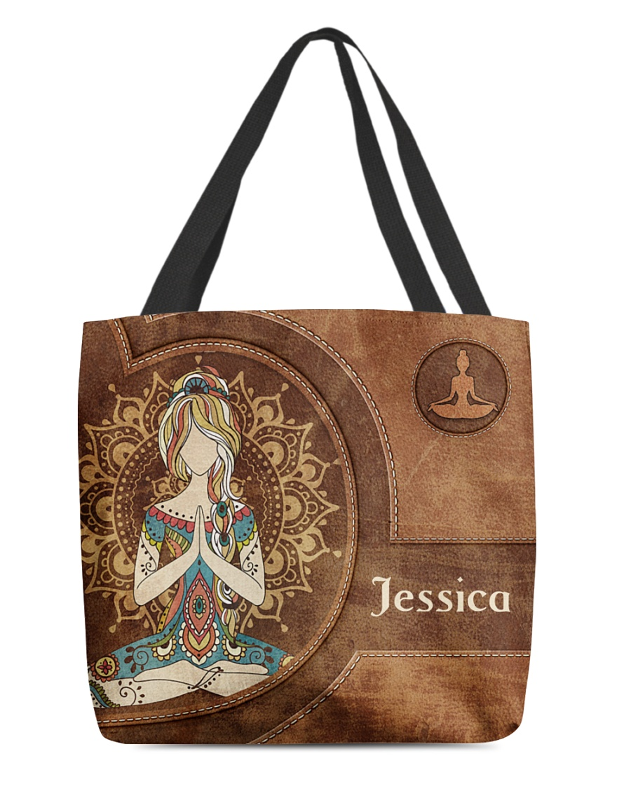 Yoga Girl Leather Pattern Personalized Tote Bag