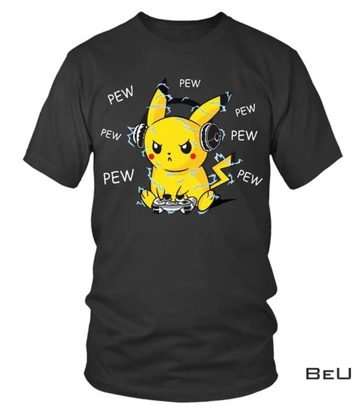 Pokemon Pikachu Playing Game Pew Pew Pew Shirt, hoodie, tank top