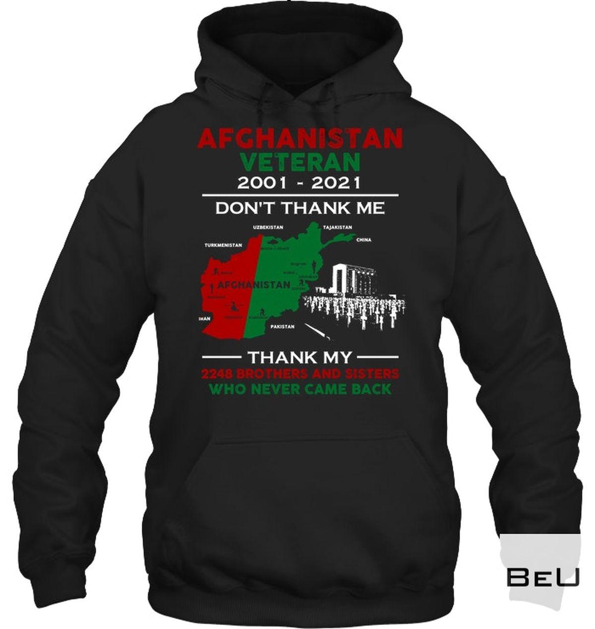 Top Selling Afghanistan Veteran 2001 2021 Don't Thank Me Shirt, hoodie