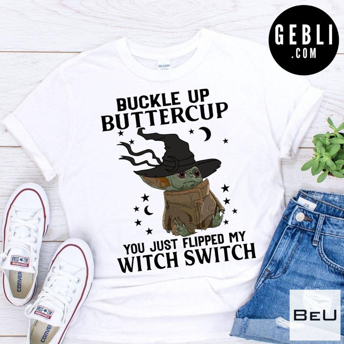 Baby Yoda Buckle Up Buttercup Halloween Shirt