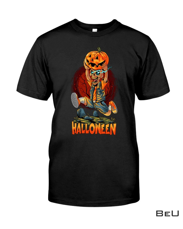 Cute Halloween Zombies Running With Pumpkin Shirt