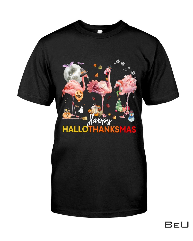 Flamingo Happy Halloween Thanksgiving Christmas Shirt, hoodie, tank top