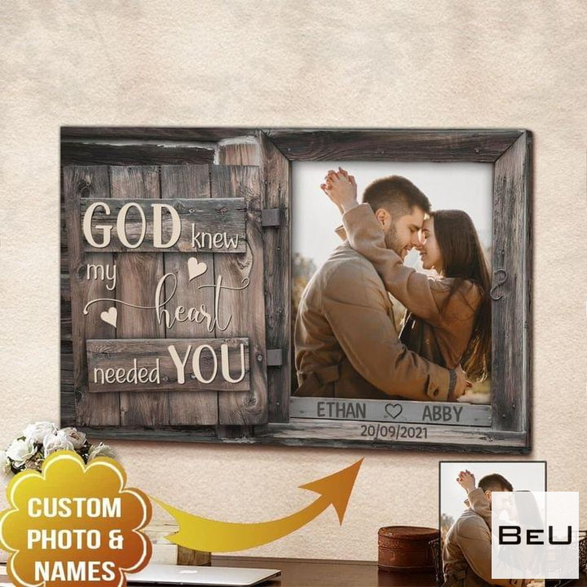 Clothing Personalized Photo And Name Couple God Knew My Heart Needed You Canvas